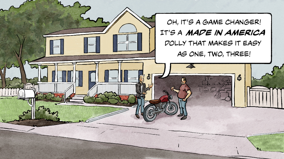 It's a game-changer, it's made in the USA, and makes storing your motorcycle as easy as 1, 2,3.